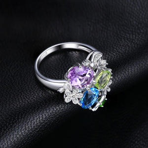Natural Amethyst Diopside Peridot Topaz Ring