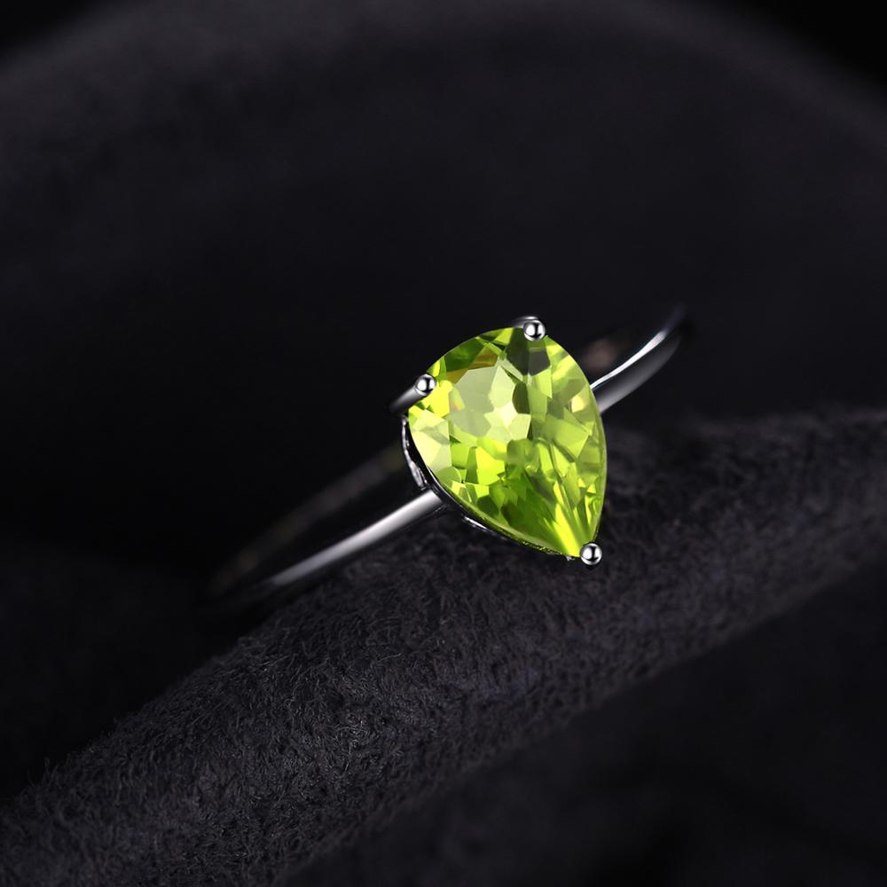 Genuine Peridot Ring Solitaire Engagement Ring - RHEA LIGHT