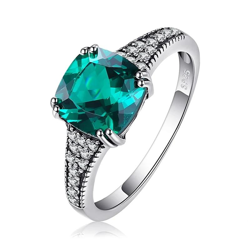Classic Cushion Created Nano Emerald Ring  Engagement Ring - RHEA LIGHT