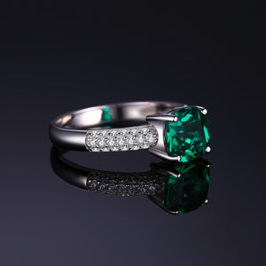 Nano Emerald Ring Silver Engagement Ring - RHEA LIGHT