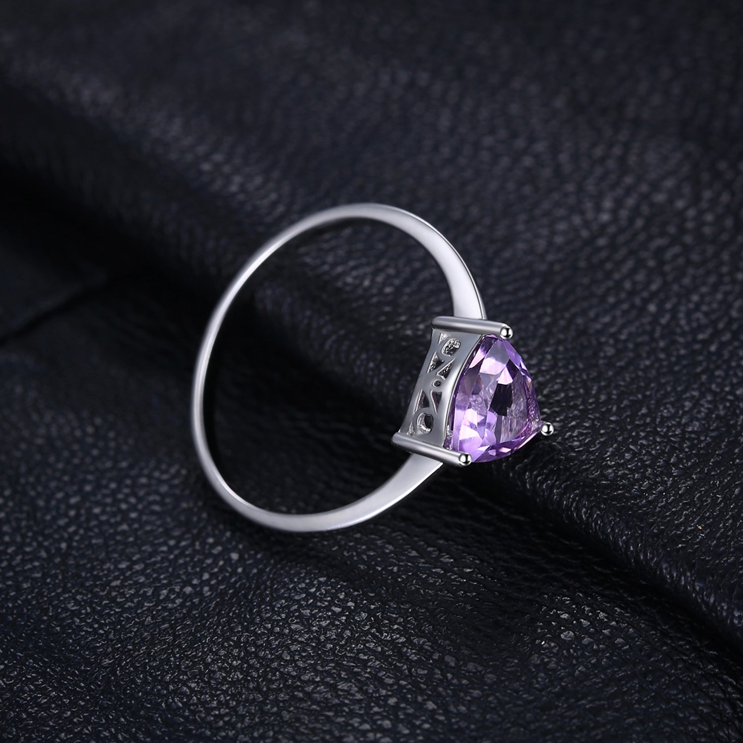 Heart Genuine Amethyst Ring Solitaire Engagement Ring - RHEA LIGHT