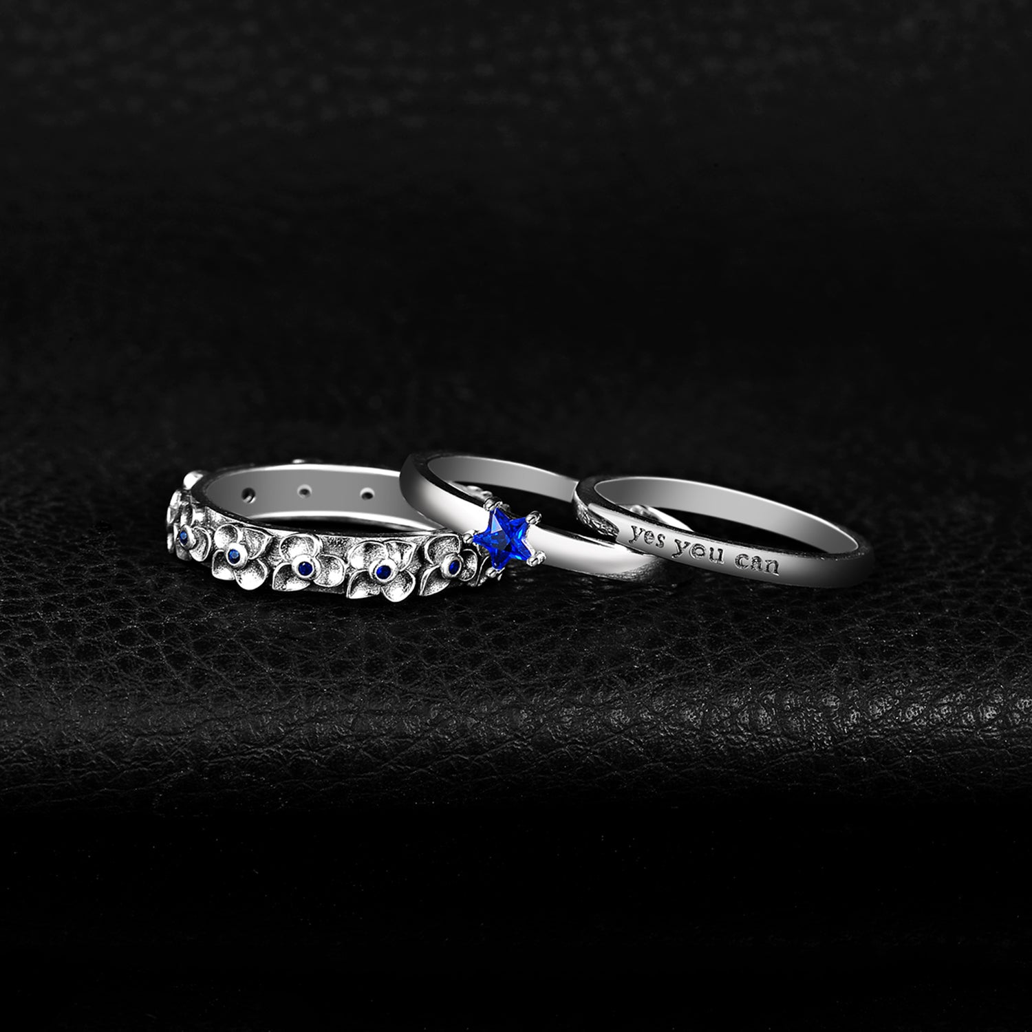 Blue Spinel Ring Set Anniversary Stackable Rings Sets