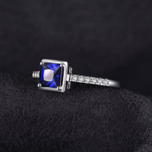 Square Created Blue Sapphire Ring  Engagement Ring - RHEA LIGHT