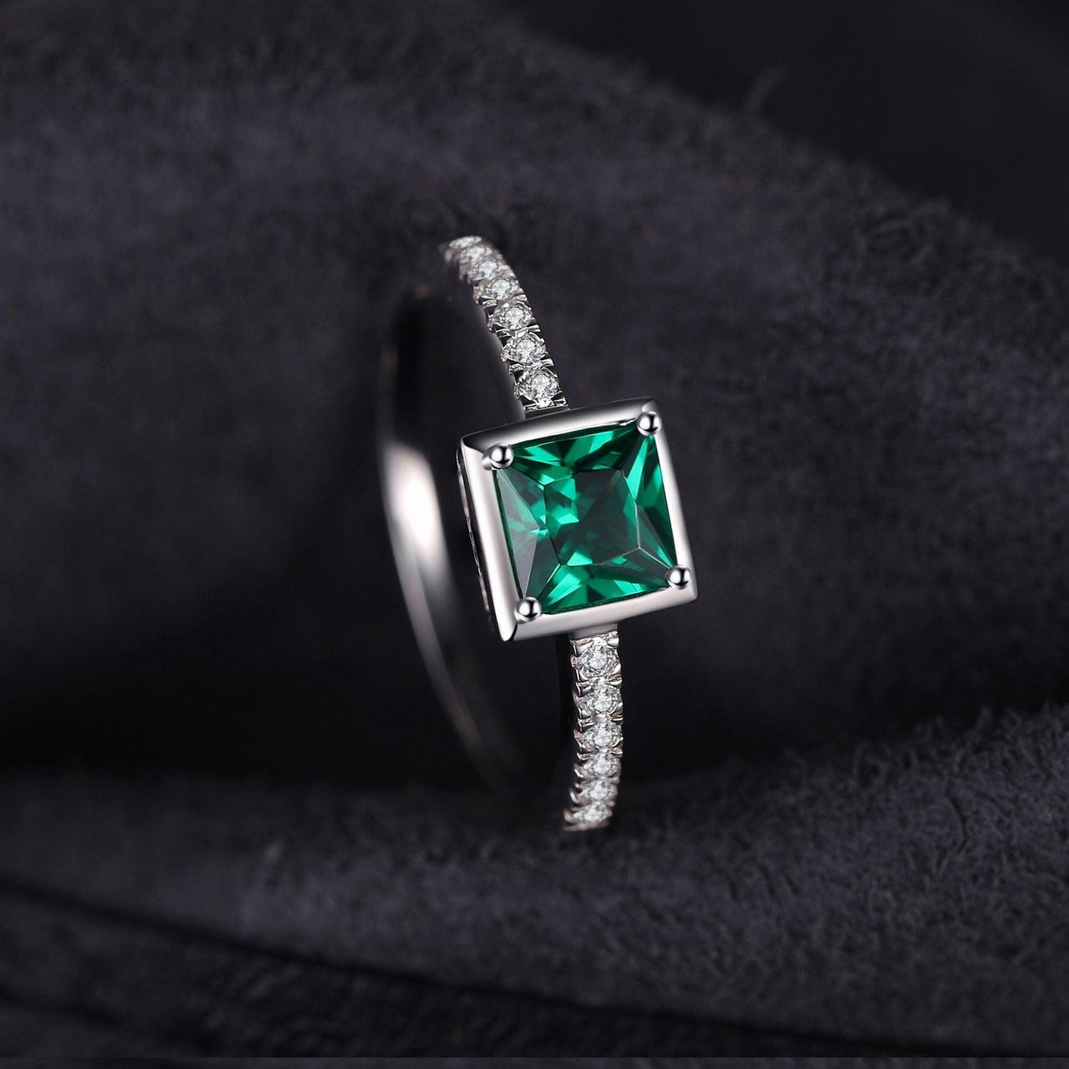 Square Created Nano Emerald Ring Engagement Ring - RHEA LIGHT