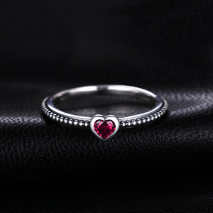 Heart Red Murano Glass Ring Stackable Ring Band - RHEA LIGHT