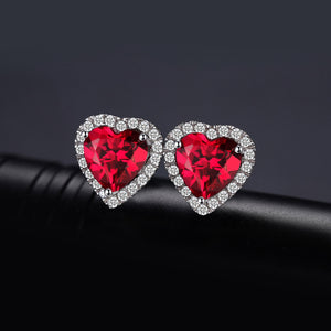 Heart Created Ruby Stud Earrings - RHEA LIGHT