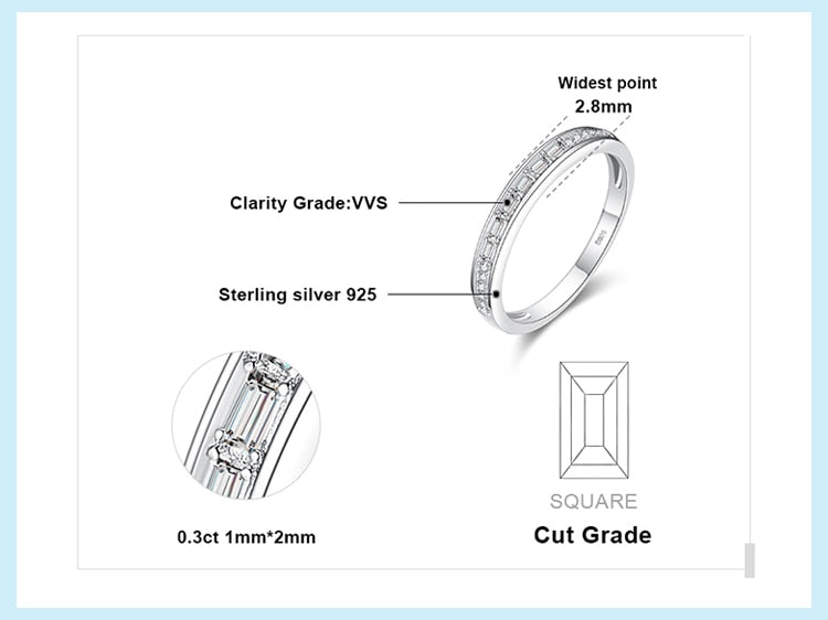 Round Rectangle Cut Wedding Rings Anniversary Eternity Ring - RHEA LIGHT