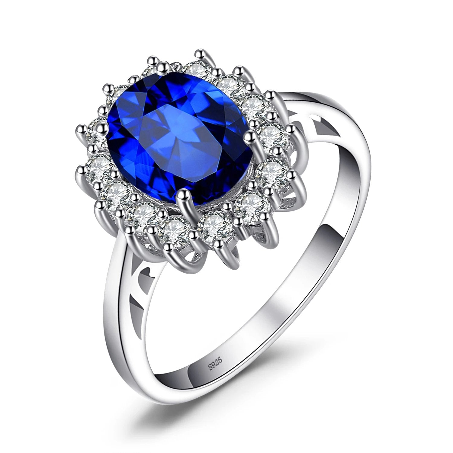 Diana Blue Sapphire Ring Princess Crown Halo Engagement Wedding Rings - RHEA LIGHT