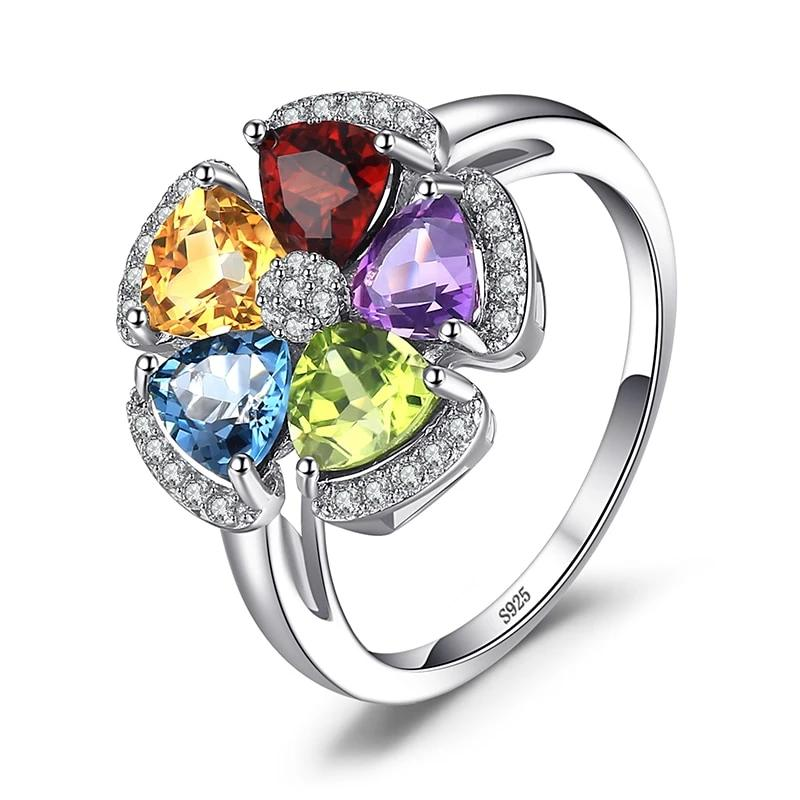 Flower Natural Amethyst Citrine Garnet Peridot Topaz Ring