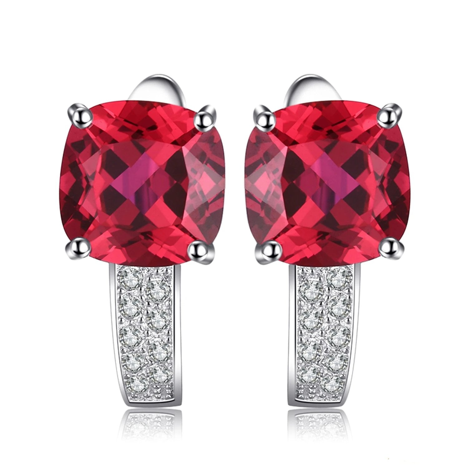 Trendy Cushion Created Ruby Hoop Earrings - RHEA LIGHT