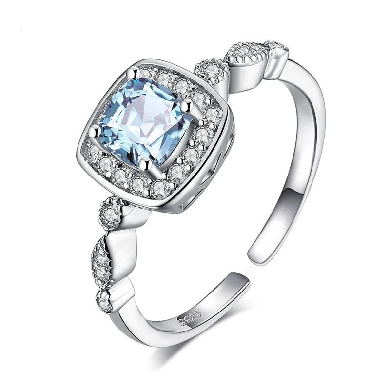 Genuine Blue Topaz Ring Halo Engagement Ring