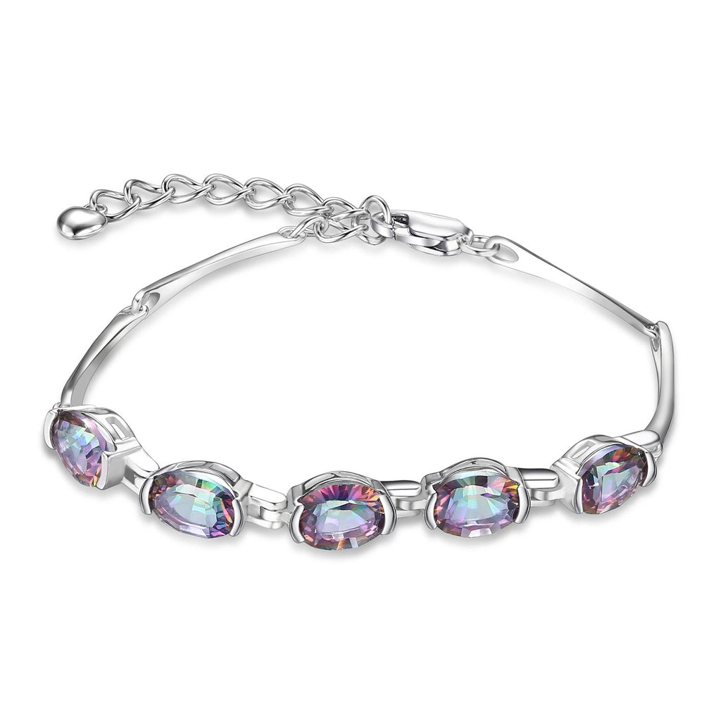 Natural Mystic Topaz 925 Sterling Silver Bracelet - RHEA LIGHT