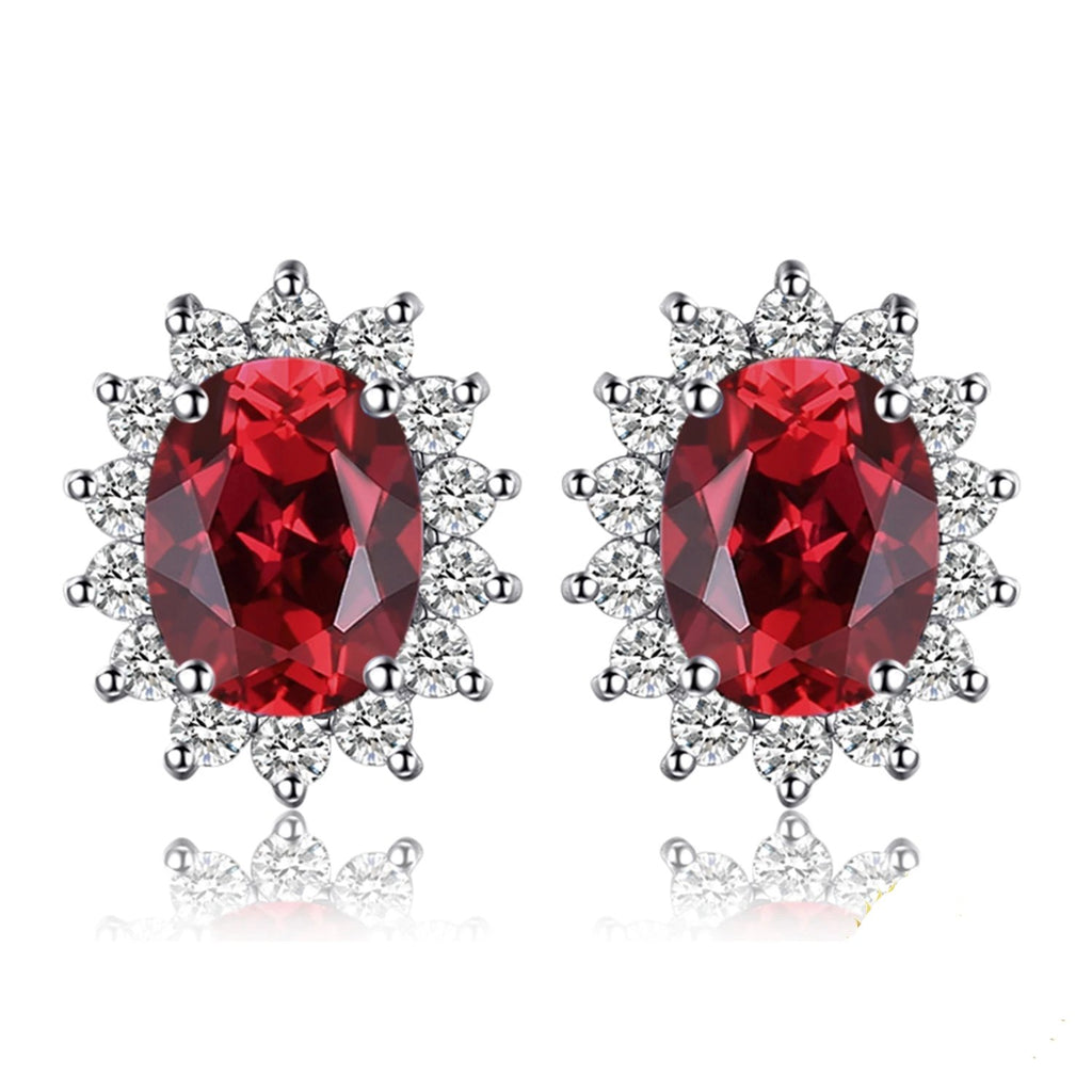 Diana Genuine Red Garnet Stud Earrings - RHEA LIGHT