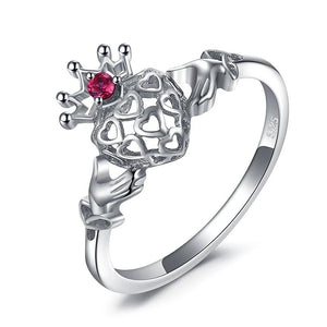 Celtic Claddagh Ruby Ring Promise Engagement Ring