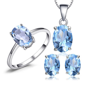 Sky Blue Topaz Pendant Necklace Earrings Ring Set
