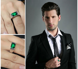 Nano Emerald Natural Black Spinel Men's Ring