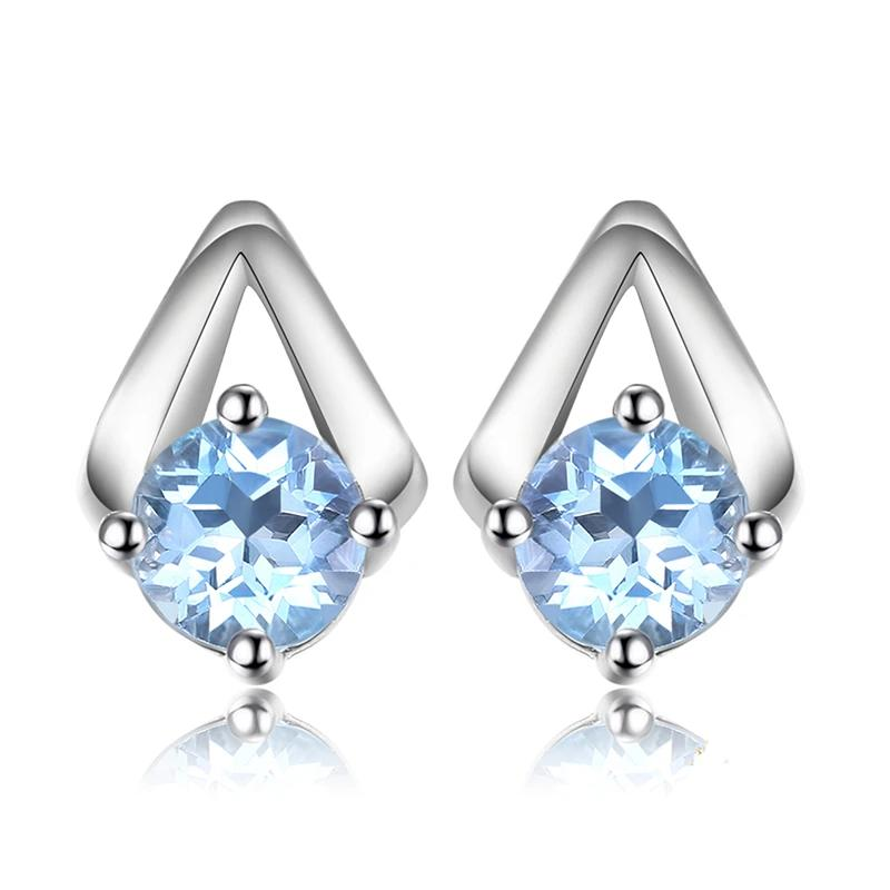 Genuine Blue Topaz Stud Earrings Fashion Jewelry - RHEA LIGHT