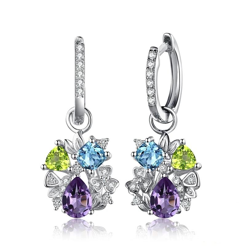 Genuine Amethyst Peridot Blue Topaz Stud Earrings - RHEA LIGHT