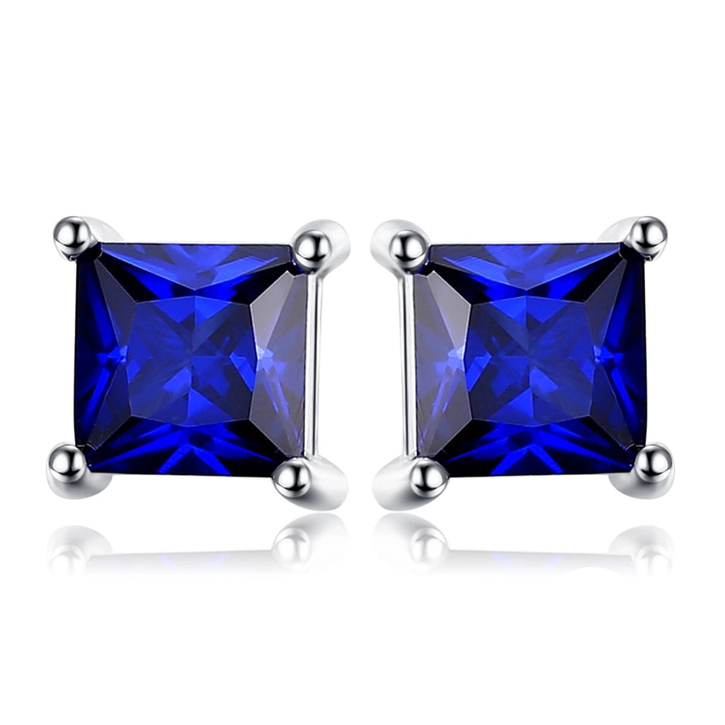 Sapphire Stud Earrings 925 Silver Earrings - RHEA LIGHT