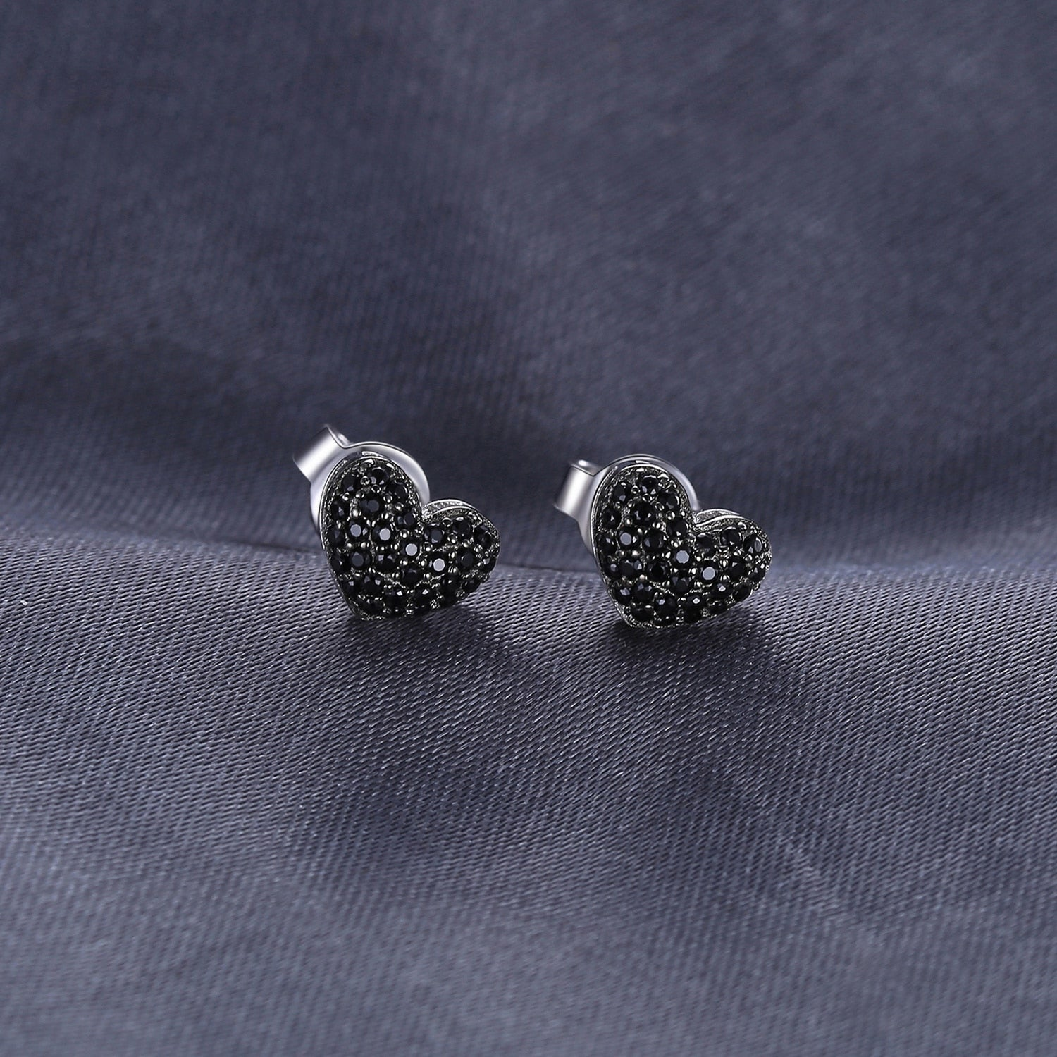 Love Heart Genuine Black Spinel Stud Earrings - RHEA LIGHT