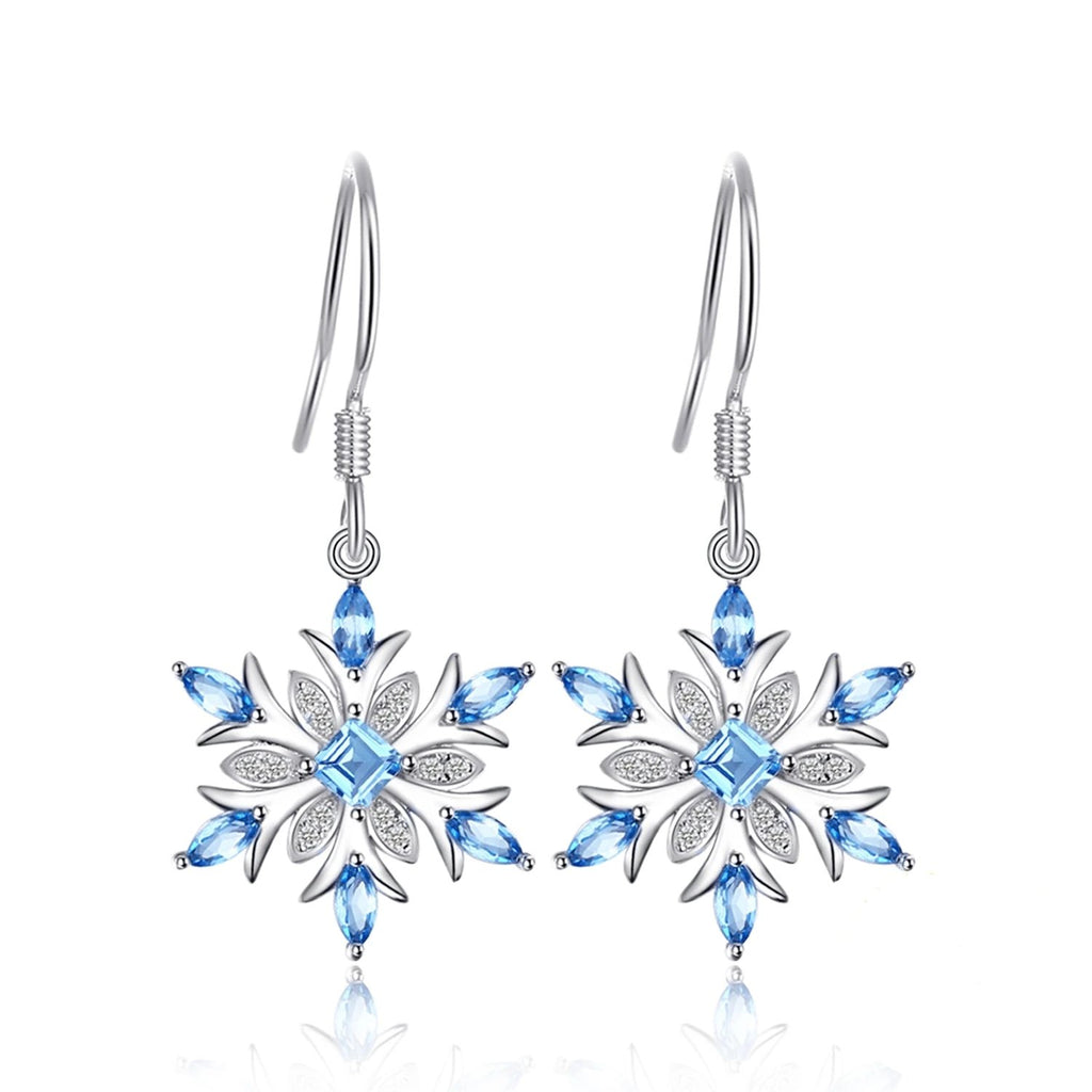 Snowflake Genuine Blue Topaz Drop Earrings - RHEA LIGHT