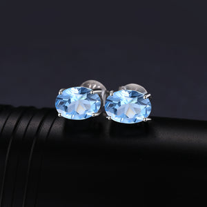 Trendy 1.9ct Genuine Blue Topaz Stud Earrings - RHEA LIGHT