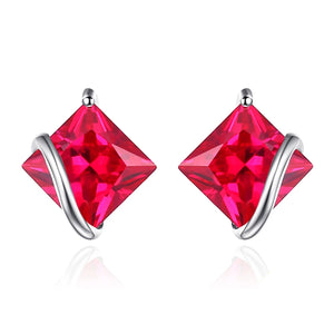 Trendy Square Ruby Stud Earrings - RHEA LIGHT