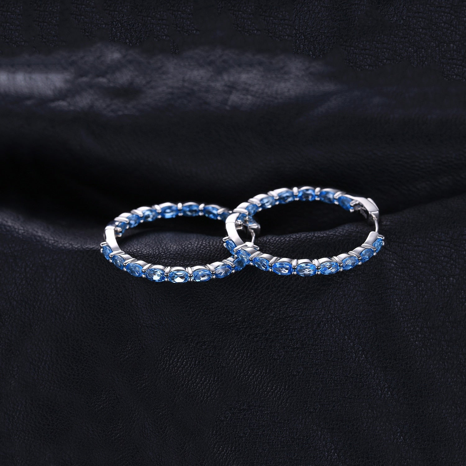 Genuine Swisss Blue Topaz Hoop Earrings - RHEA LIGHT