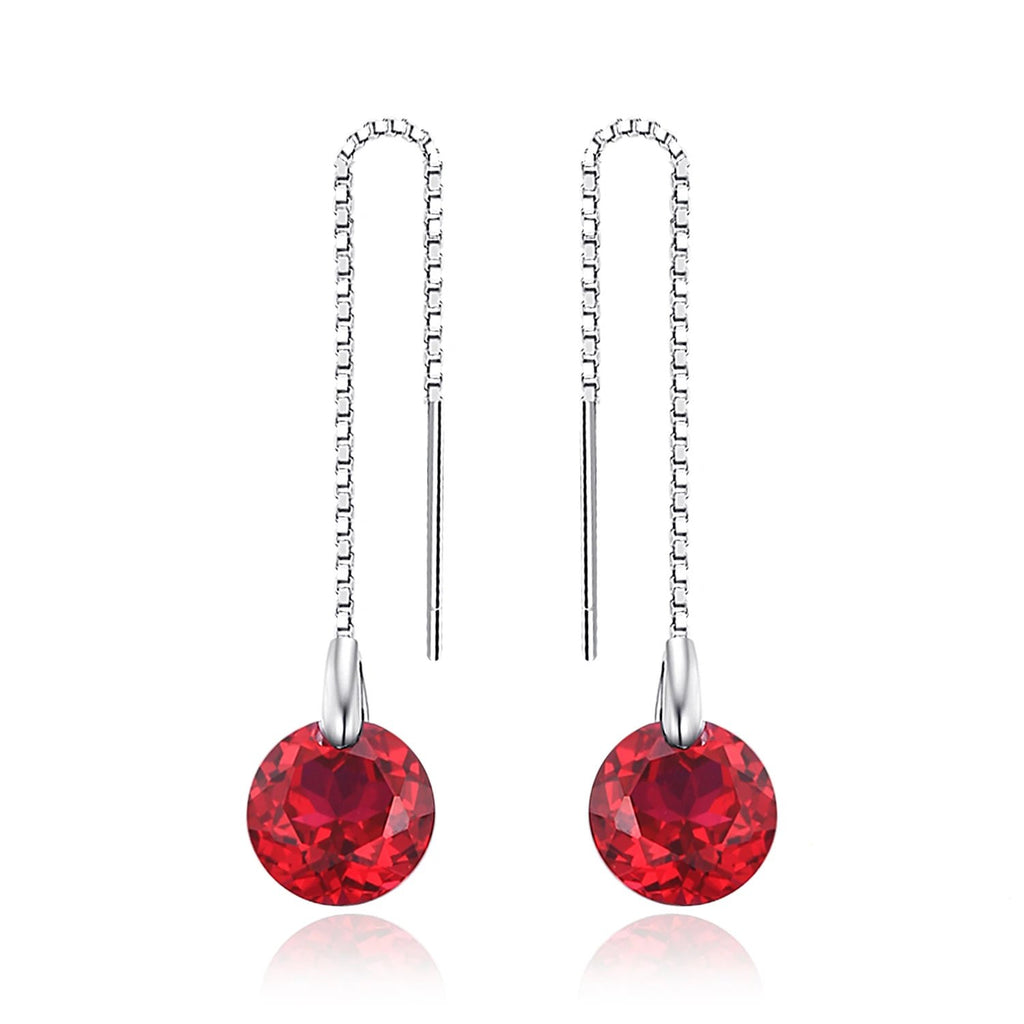 Ruby Threader Drop Earrings Silver Earrings - RHEA LIGHT