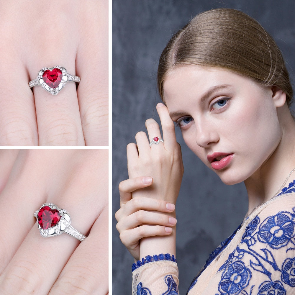 Love Heart Red Ruby Engagement Rings - RHEA LIGHT