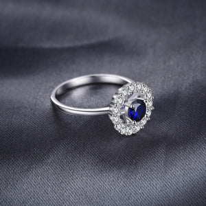 Round Created Sapphire Halo Ring
