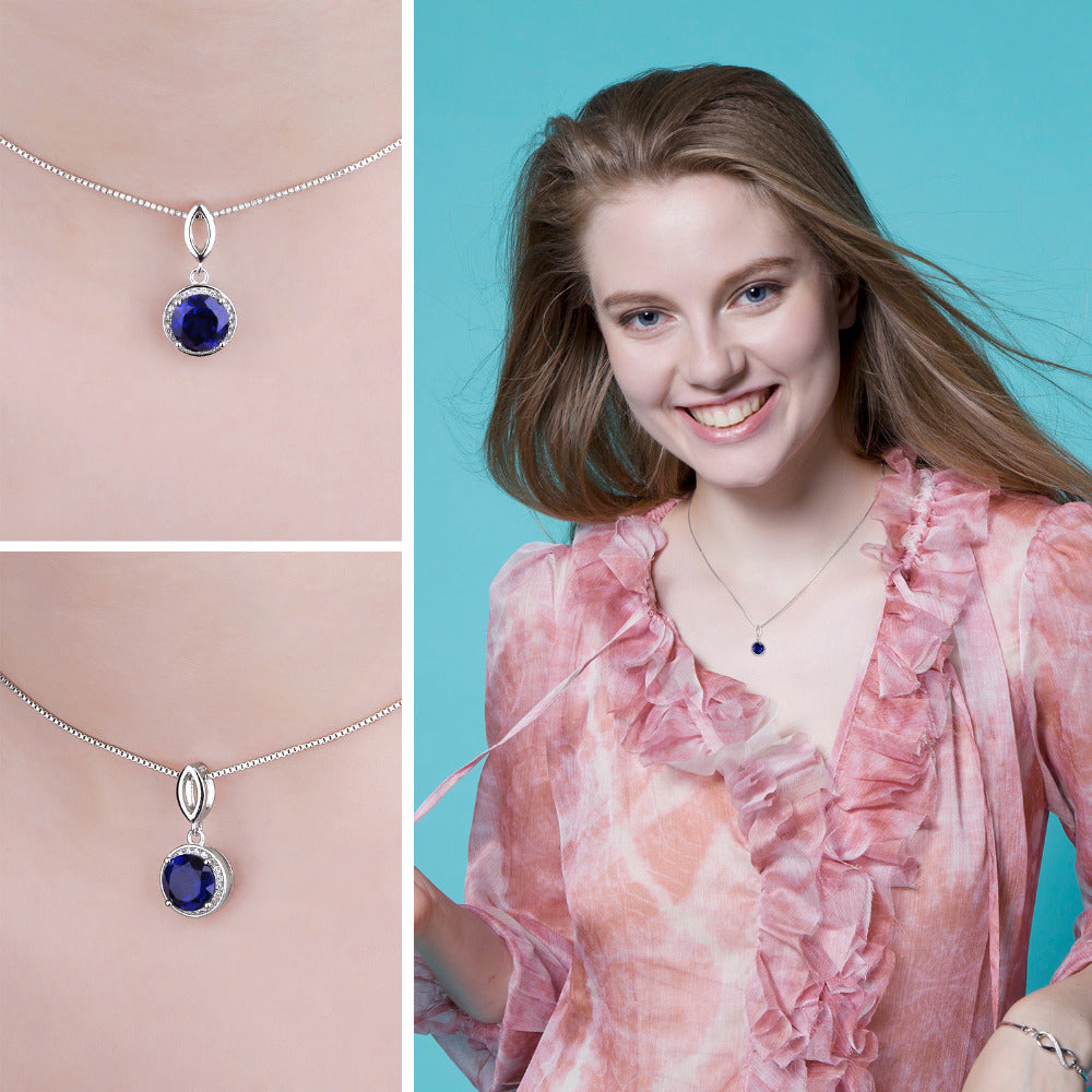 Round Sapphire Halo Pendant Necklace for Women - RHEA LIGHT