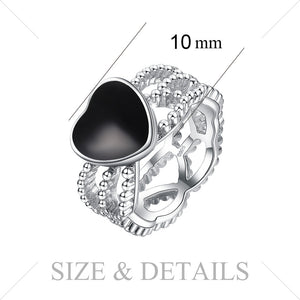 Vintage Love Genuine Black Onyx Intertwined Band New Hot Sale - RHEA LIGHT