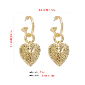 Retro Heart Fashion Earrings