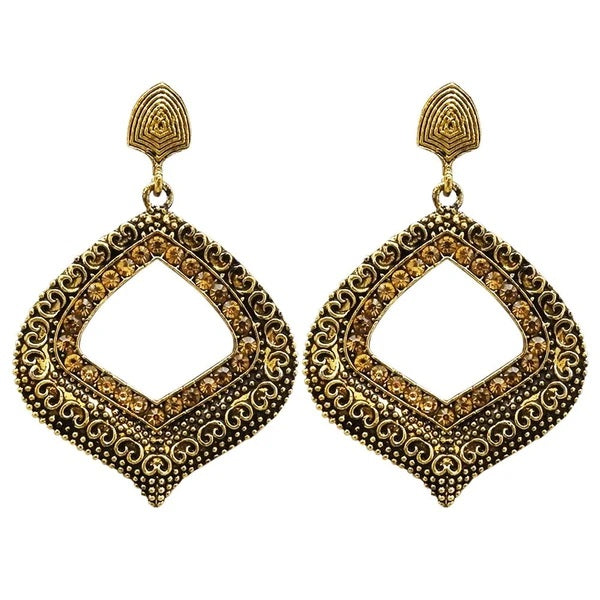 Kriaa Stone Antique Gold Plated Dangler Earrings