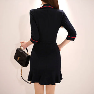 2020 Spring Notched Black Vestidos Double Breasted Mini Fishtail Bodycon Sexy Office Work Dress