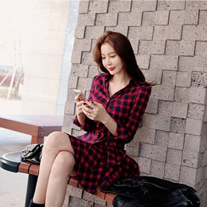 Sexy Autumn Winter Women Red Retro Long Sleeve High Waist Double Layer Mini Dress Plaid Dress