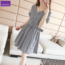 Load image into Gallery viewer, 2020 Summer Plus Size Stripe Women Dress Waist Belt Female Dresses
