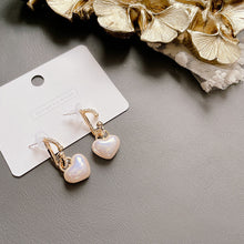 Load image into Gallery viewer, Micro-inlaid Heart Pearl Earrings