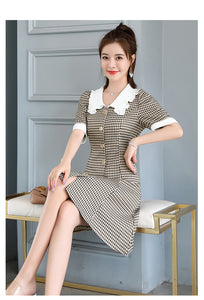 2020 Summer Korean Style Mid-Waist Fashion Short-Sleeve Office Lady Mini Dress