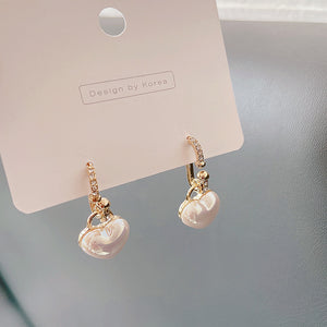 Micro-inlaid Heart Pearl Earrings