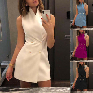 Women's Sleeveless Stand Collar Solid Button Bodycon Dress Casual Mini Suit Vest Dress