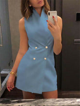 Load image into Gallery viewer, Women's Sleeveless Stand Collar Solid Button Bodycon Dress Casual Mini Suit Vest Dress