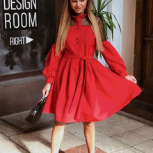 Load image into Gallery viewer, Women Sexy Lace Patchwork A-Line Party Dress Ladies Long Puff Sleeve Stand Collar Elegant Dress