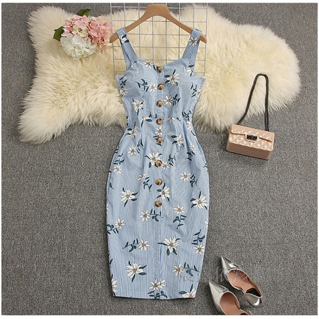 Sexy Deep V-Neck Dress Floral Bodycon Party Dress High Waist Female Bandage Summer Club Dress