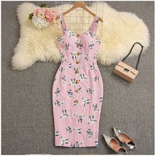 Load image into Gallery viewer, Sexy Deep V-Neck Dress Floral Bodycon Party Dress High Waist Female Bandage Summer Club Dress