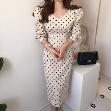 Load image into Gallery viewer, French Style Casual Polka Dot Print A-Line Party Corduroy Dress Elegant Lace-Up Slim Dress Fashion