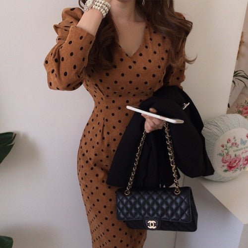 French Style Casual Polka Dot Print A-Line Party Corduroy Dress Elegant Lace-Up Slim Dress Fashion