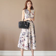 Load image into Gallery viewer, Women Summer Casual Sleeveless Midi Long Dress Boho Floral Print Dress V-Neck Elegant Party Dress