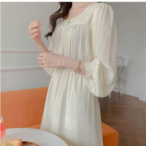 New Summer Dress Girls Boho Party Chiffon Female Vintage Dress White Long Sleeve Women Dresses